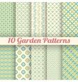 10 Green garden seamless patterns Abstract texture vector image