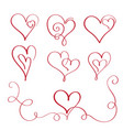 set of red flourish calligraphy vintage hearts vector image vector image