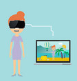 woman in virtual reality vacation vector image vector image