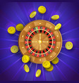 flat casino roulette wheel golden coins vector image vector image