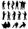 silhouettes of students vector image