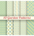 10 Green garden seamless patterns Abstract texture vector image