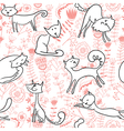 cats and florals seamless vector image vector image