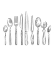 Cooking Hand-drawn set of kitchen tools - spoon vector image