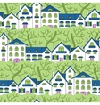 Seamless pattern of white houses and green trees vector image