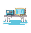 desktop computer home office concept vector image