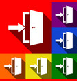door exit sign set of icons with flat vector image
