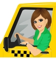 female taxi driver in yellow car smiling vector image