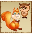 Orange squirrel and brown owl cartoon characters vector image