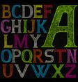 psychedelic acid color alphabet vector image