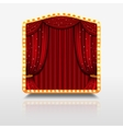 Stage curtain in shining banner with golden frame vector image