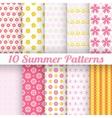 10 Light summer seamless patterns tiling Fond pink vector image