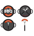 bbq icon set with grill tools and sausage vector image vector image