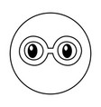 emoticon face with glasses kawaii style vector image
