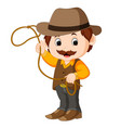 funny cartoon cowboy vector image