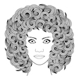 adult coloring book portrait woman with curly hair vector image