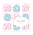 Food delivery box design with hand drawn donuts vector image