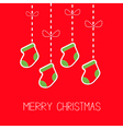 Hanging christmas socks dash line bow Christmas vector image