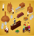 isometric brewery beer production with workers vector image
