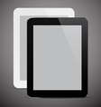 Realistic black and white tablet pc vector image