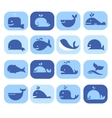 Set of Silhouettes Dolphins Whales in Flat vector image
