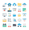 Cloud Data Technology Colored Icons 2 vector image