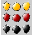 Set of steel shields vector