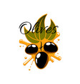 black olives and olive oil icon vector image