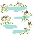reeds with pond icon set vector image