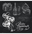 Valentines Day hand drawn chalkboard design set vector image vector image