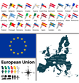 European Union with names vector image vector image