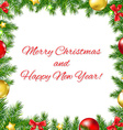 Xmas Fir Tree Frame With Red Ribbon And Text vector image vector image