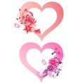 hearts with flowers vector image vector image