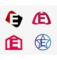 set of abstract icons based on the letter e vector image
