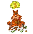 Cartoon Character Happy Cat Keeps Money vector image