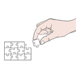 hand with puzzle vector image