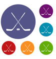 ice hockey sticks icons set vector image