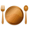 wooden plate with pair of fork and spoon vector image vector image