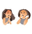 woman having flu symptoms - runny nose cough vector image