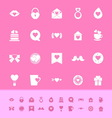 Heart element color icons on pink background vector image