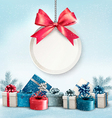 Christmas presents with a label and a ribbon vector image vector image