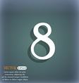 number Eight icon sign On the blue-green abstract vector image