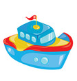 cartoon boat on white background a toy ship for vector image