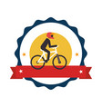 circular stamp with bicycle and man cyclist vector image