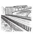 Hand drawn bridge vector image