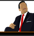 relaxed business man sits on office and speaking vector image