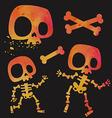 Funny little cartoon stylized skeletons set vector image