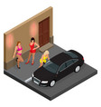 prostitute in short skirt talking to a client vector image