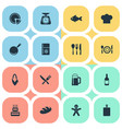 set of simple cuisine icons vector image