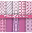 10 Beautiful seamless patterns tiling Pink purple vector image